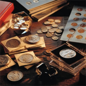 Collectible coins on a desk