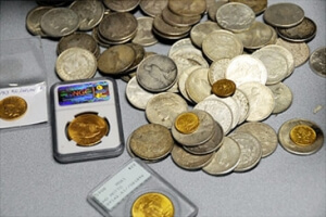 Pile of gold and silver coins