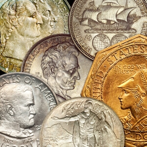An assortment of commemorative coins