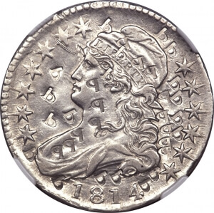 1814 capped bust half dollar with a lot of countermarks