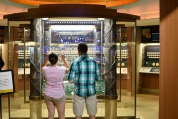 people looking at an exhibit in the money museum