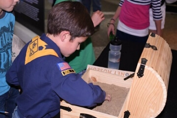 young numismatists digging in treasure chest