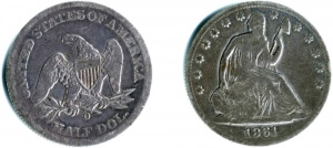 holed seated liberty half dollar reverse