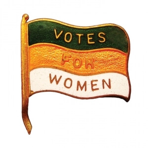 """votes for women"" on striped flag pin"