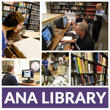 "multiple pictures from inside a library with ""a.n.a. library"""