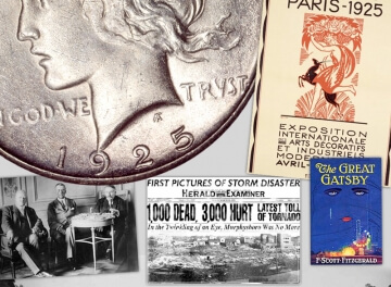 1925 peace dollar with other documents from that year, like the great gatsby and a newspaper