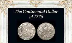 1776 continental currency coin in frame