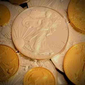 silver eagle surrounded by modern u.s. gold coins