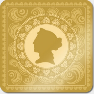 gold swirl pattern with a woman's head silhouette