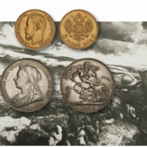 two foreign coins over an old photo