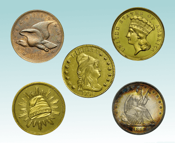 five coins, including gold and patterns