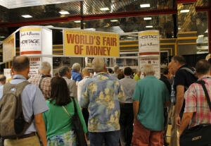 entrance to the world's fair of money, filled with people