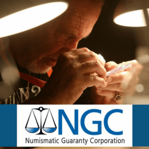 man examining coin with loupe with n.g.c. logo