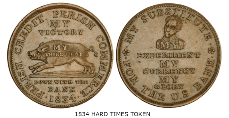 1834 hard times token w caption
