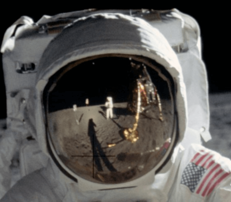 The reflection in astronaut Buzz Aldrin's visor will be the subject of the reverse which is what y