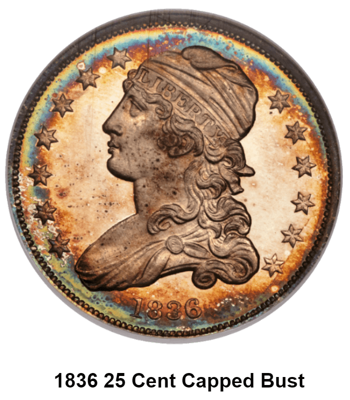 1836 25 cent capped bust with caption