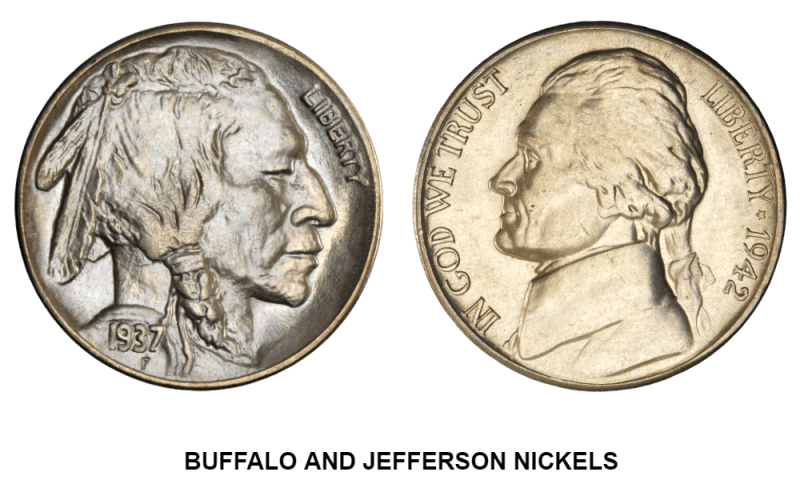 BUFFALO AND JEFERSON NICKELS