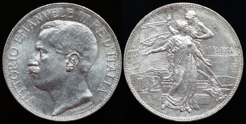 Italy 50th Anniversary of Unification 2 Lire - 1911
