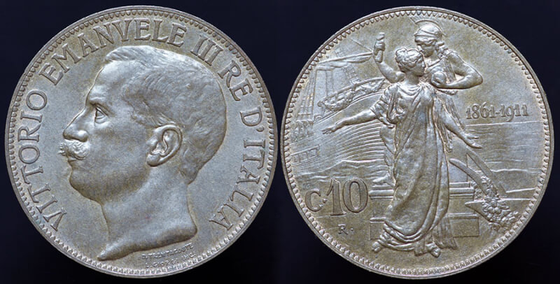 Italy 50th Anniversary of Unification 10 Centesimi - 1911
