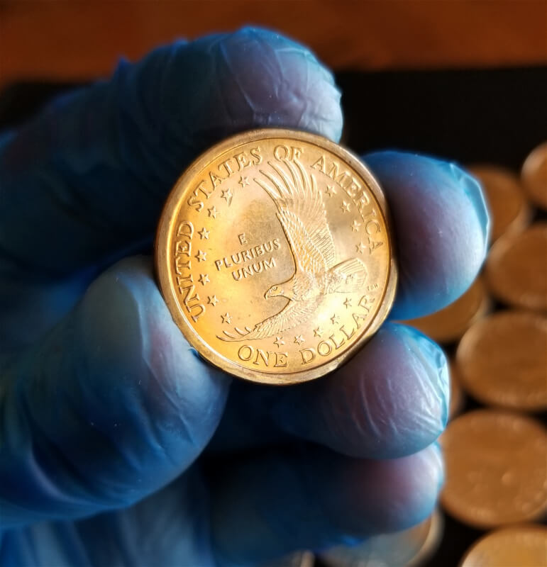 Beautiful 'Bullseye' toning on an end coin from a U.S. Mint roll